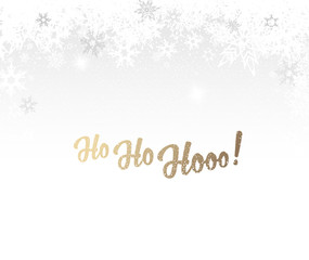 Christmas background with white snowflakes and golden Ho-ho-hooo! text - light version