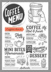 Coffee menu restaurant, drink template.