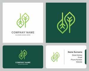Logo Business Card Infinity Organic Green Leaf Nature Farm Vegetables Agriculture Company Stock Vector Design Template