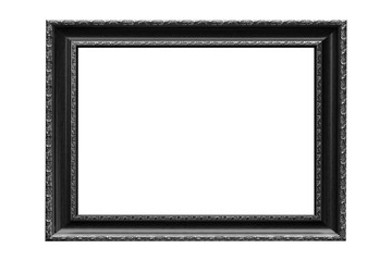 Black vintage picture frame isolated on white background.