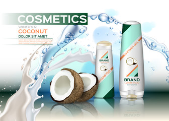 Vector Cosmetics set package with coconut milk. Hydration shampoo and conditioner with coconut water. Perfect for advertising, flyer, banner, poster. 3d illustrations