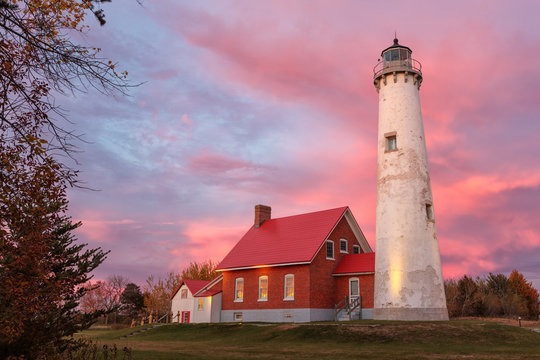 Tawas Point Lighthouse at Sunset in Tawas Michigan