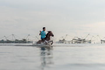 Young man riding horse in the morning at Phatthalung Lake in the morning.