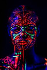 Neon girl in black light