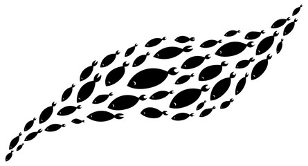School of fish. A group of silhouette fish swim in a circle. Marine life. Vector illustration. Tattoo.