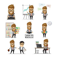 Businessman working day infographic elements