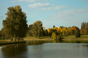 Beautiful water landscape in Belarus background