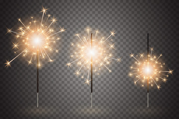 Christmas bengal light set. Realistic sparkler lights isolated on transparent background. Festive bright fireworks. Element of decorations for celebrations and holidays. Vector illustration