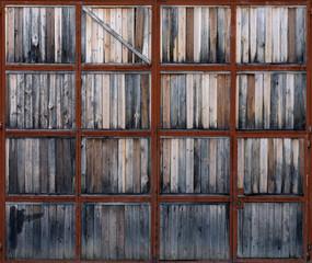 Old wooden garage doors