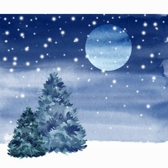 Winter night. Watercolor card. Landscape.