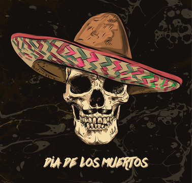 Mexican skull vector with sombrero on background.