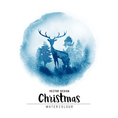 A winter Christmas watercolor scene with christmas trees and a stag. Vector xmas decoration illustration.
