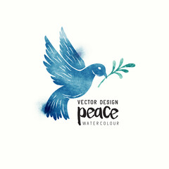 An isolated dove flying. Christmas symbol of Peace dove watercolor. Vector illustration