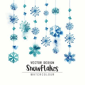 Elegant watercolor winter christmas snowflakes. Vector illustration.