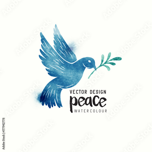 An Isolated Dove Flying Christmas Symbol Of Peace Dove Watercolor