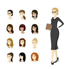 Business woman and collection of European female heads,