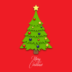 Christmas tree made from paper on red background. Design elements for holiday cards. Vector illustration.