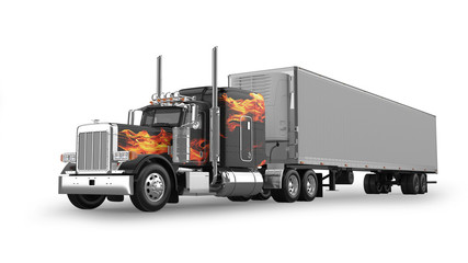 American Semi Truck Isolated on White