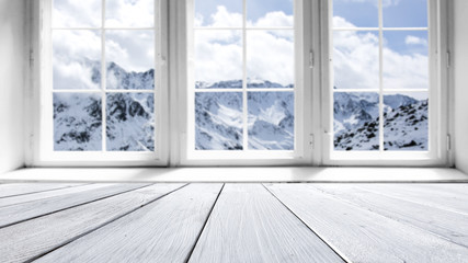 winter window and desk of free space