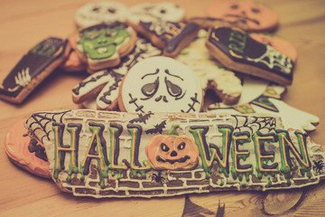 Preparing for Halloween. Halloween cookies on a Table