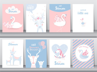 Set of baby shower invitations cards,poster,greeting,template,stork,goose,duck,deer,Vector illustrations