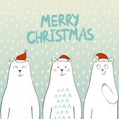 Merry Christmas and Happy New year. Christmas bears.