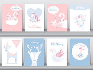 Set of birthday invitations cards, poster, greeting, template, animals,unicorn,stork,duck,goose,Vector illustrations