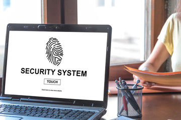 Security system concept on a laptop screen