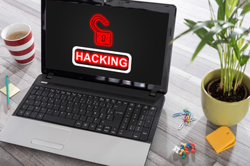 Hacking concept on a laptop