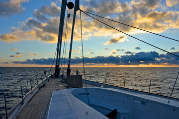 detail of deck of luxury sailing yacht with jacuzzi at the sunset