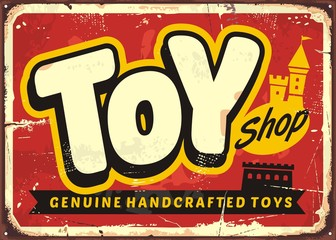 Toy shop or toy store vintage vector sign concept