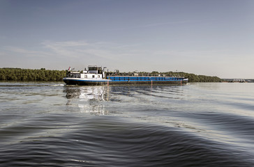 River Danube - Inland tanker cruising along the waterway