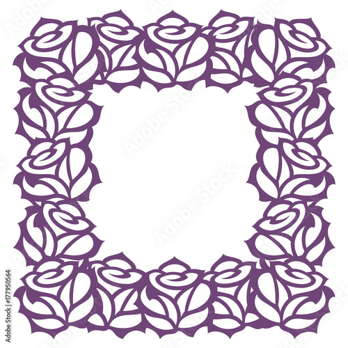 vector decorative frame with rose flowers template for laser paper