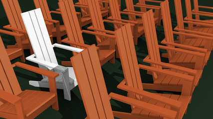 3D illustration red and white Adirondack chairs