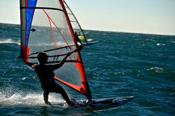 two men windsurfing
