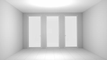 3D illustration white empty room