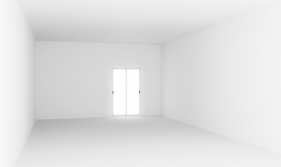 3D illustration white empty room