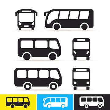 Set of bus icon. Vector illustration. Isolated on white background