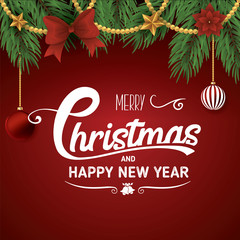Christmas and new year typographical on red background. Vector
