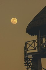 Mexican beach tower in moon light
