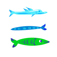 Cute character fish vector illustration set isolated