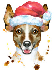 Watercolor portrait of jack russell terrier with Santa hat