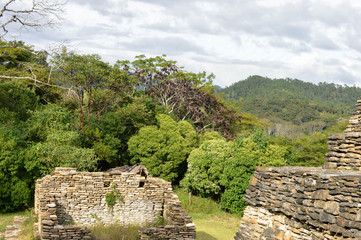 Some of the pyramids of Tonina archaeological site with landscapes of Ocosingo in Chiapas, Mexico