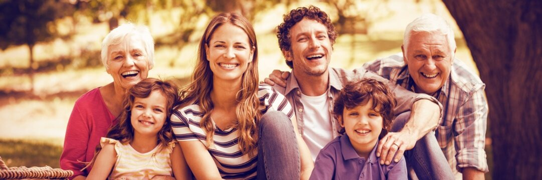 Portrait of smiling family having picnic