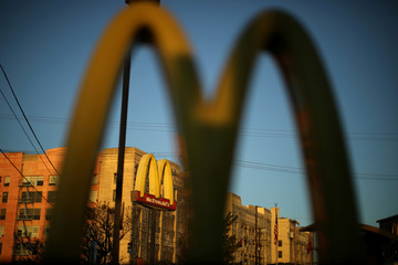 The logo of a McDonald's Corp <MCD.N> restaurant is seen in Los Angeles