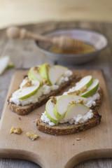 Pear, honey and ricotta cheese crostini