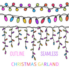 Christmas light garlands set. Outline isolated design seamless pattern. New year winter collection