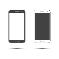 Colored concept of modern phones with empty screens, realistic white and black mobile templates on transparent background.