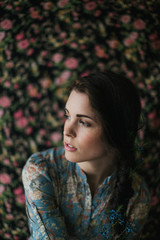 young fashion girl with floral background