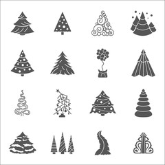 Christmas tree icon set. Flat isolated design. New year winter collection